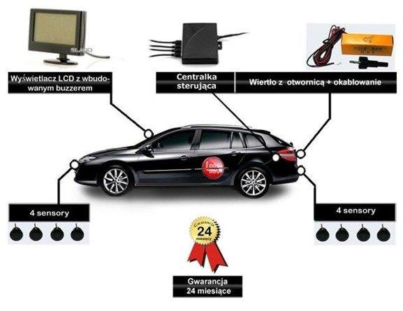 Czujniki parkowania z 8 sensorami i wyświetlaczem